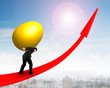 Man carrying golden egg upward on red trend line