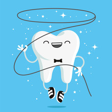Happy Healthy Tooth With Flossing