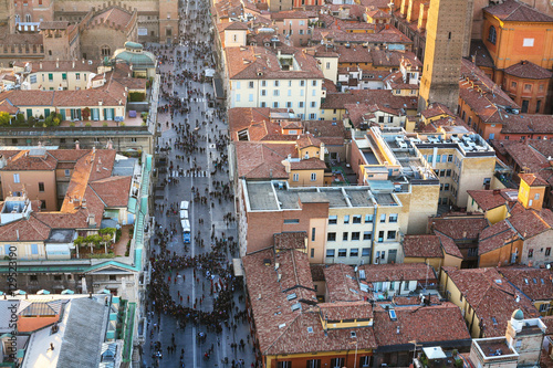 Staande foto Praag above view of street and houses in Bologna city