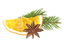 Dried Slices Of Orange, Anise Star And Fir Tree On White Backgro