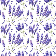Panel Szklany Lawenda Wildflower lavender flower pattern in a watercolor style isolated.