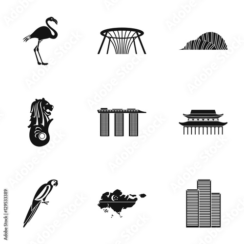 Photo  Holiday in Singapore icons set