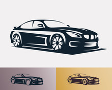 Race Car Symbol Logo Template, Stylized Vector Silhouette