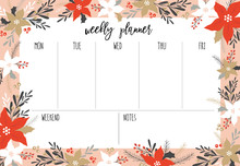 Organizer And Schedule Notepad. Template For Scrap Booking, Weekly Planner, Sticker, Paper, To Do List