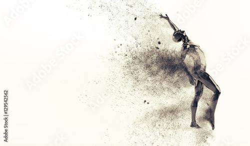 Obraz na płótnie Abstract black plastic human body mannequin figure with scattering particles over white background Action dance pose 3D rendering illustration