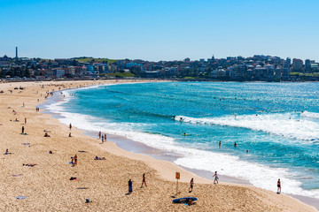SYDNEY,AUSTRALIA-DEC 01, 2015:People relaxing at Bondi beach beach in Sydney, Australia on Dec 01, 2015. Bondi beach is one of a famous beach in the world.
