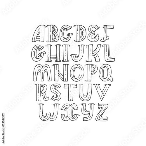 Hand drawn decorative alphabet in doodle creative stile