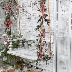 FototapetaChristmas decorations in the Rustic style. Snow-covered wooden s