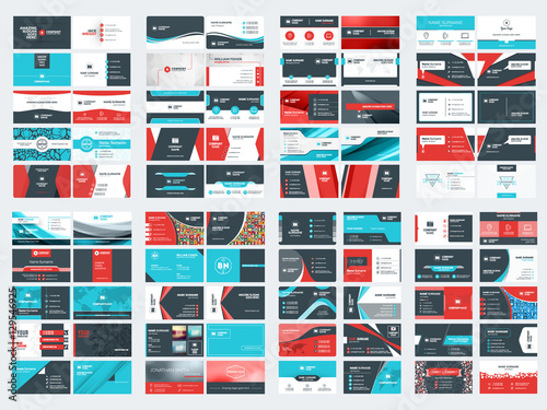 Collection of double sided business card vector templates Wallpaper Mural