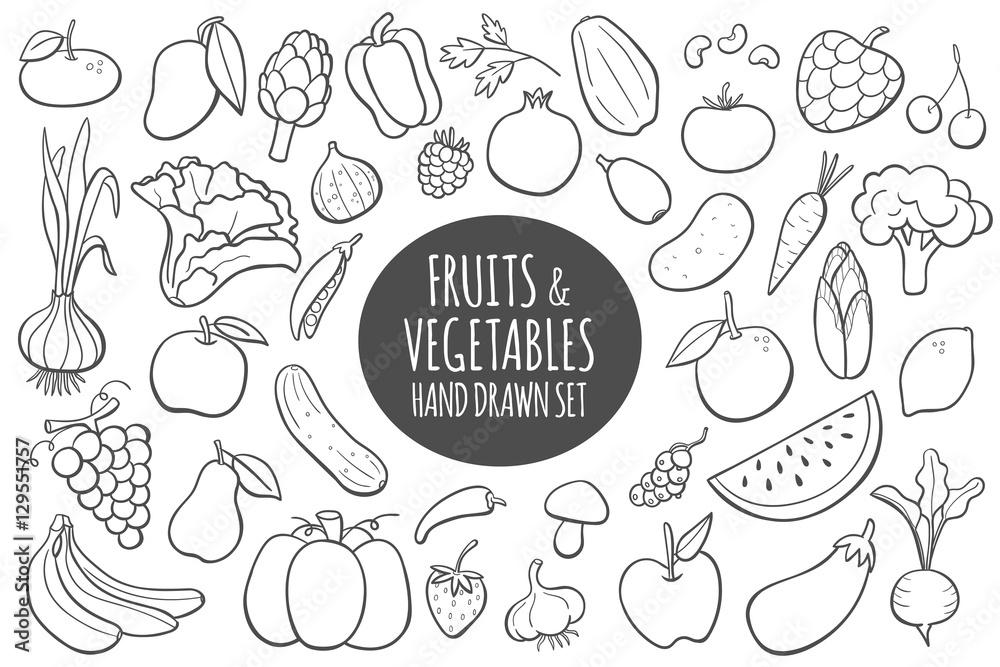 Fruits and vegetables doodle set. Hand drawn vector illustration.