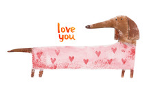 Dachshund In Suit With Hearts....