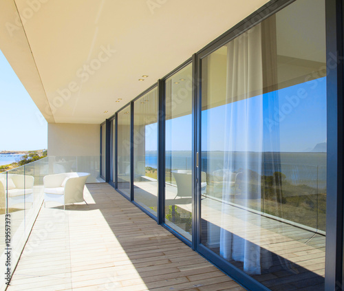 Fotomural Architecture, beautiful interior of a modern villa, view from veranda