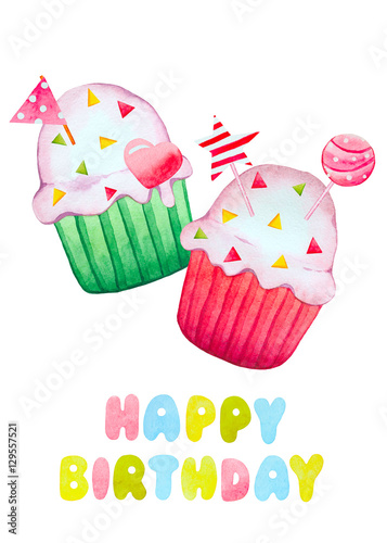 Birthday Card With Watercolor Cupcakes Buy This Stock