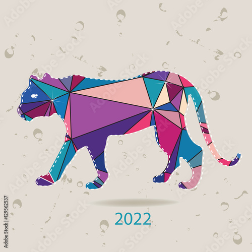Fotografia  The 2022 new year card with Tiger made of triangles