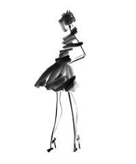 hand drawn black and white fashion sketch. woman or girl decorat