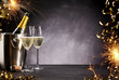 canvas print picture - Romantic celebration with sparklers and champagne