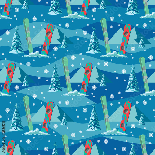 Cotton fabric Vector hand drawn seamless pattern of ski, poles and pine in snow