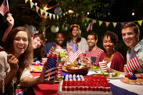 Photo  Portrait Of Friends At 4th Of July Holiday Backyard Party