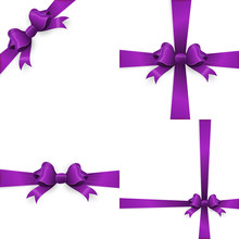 Purple Bow And Purple Ribbon. EPS 10