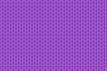 Knit Woven Yarn Fabric Seamless Pattern. Purple Wool Seamless Background. Vector Grpahic Illustration Tecture. Winter Clothes.
