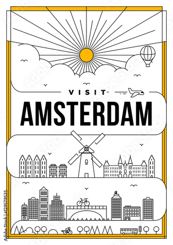 Linear Travel Amsterdam Poster Design