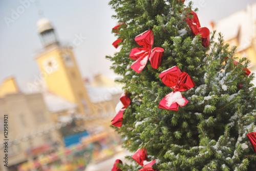 Obraz na plátne Large outdoor Christmas tree in Rybnik Poland