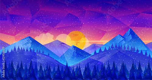 Poster Dark blue Low poly Nature Landscape,great as a wallpaper, design template, flyer, etc