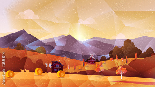 Farm low poly, vector background