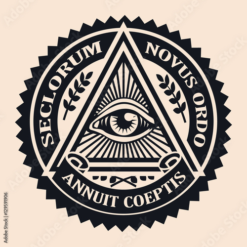 Photo  Eye of Providence. Masonic symbol. Conspiracy theory. parchment,