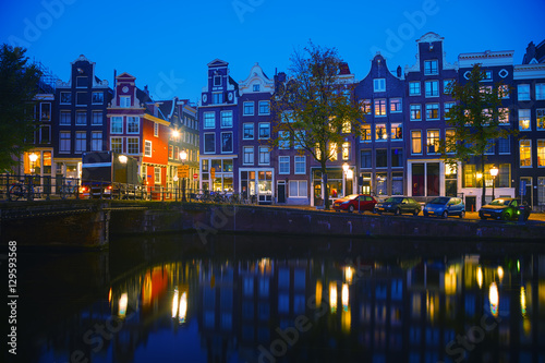Amsterdam city view with canals Canvas-taulu