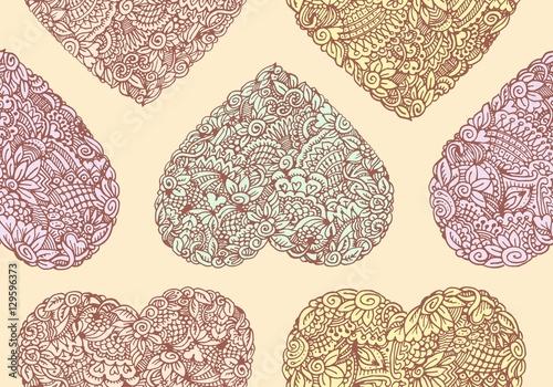 Materiał do szycia Bezszwowe tło z symbolami serca