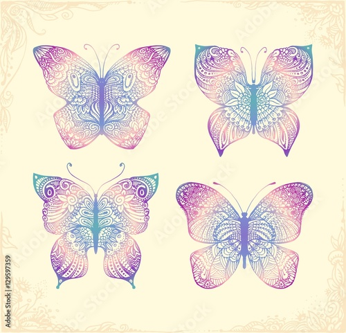 Aluminium Prints Boho Style Set of beautiful butterflys. Hand drawn doodle animal.