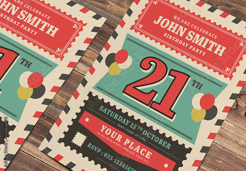 retro style birthday invitation layout buy this stock template and