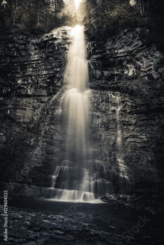 Black and white. Virginia Falls, Glacier National Park, Montana, USA