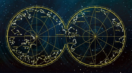 Fototapeta Niebo sky map depicting constellations and zodiac signs.