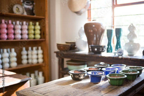 Various pottery on table