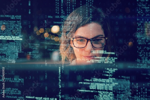 Businesswoman sitting in office 3D