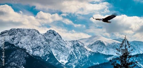Zim góry panorama Zakopane, Wysokie Tatrzańskie góry, Polska