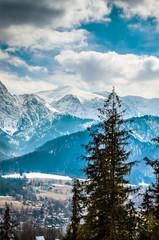 Panel Szklany Podświetlane Do biura Winter mountains panorama of Zakopane, High Tatra Mountains, Poland