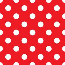 Polka Dot Big Red Seamless Background