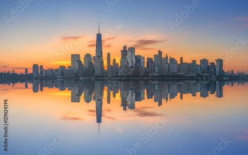 Fotografia  Manhattan cityscape panorama reflections