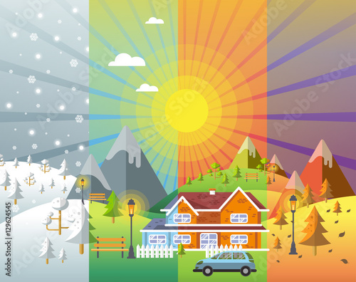 Fotografie, Tablou  landscape design set with Winter, Spring, Summer, Autumn. houses
