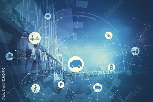 Fotografía duotone graphic of modern transportation and communication network, intelligent