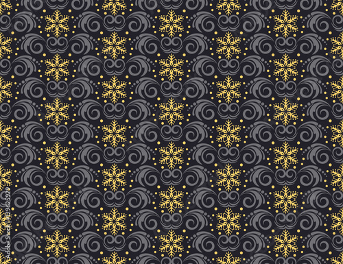 Christmas Seamless Pattern Black And Gold Background