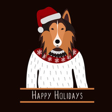 Greeting Background With Rough Collie. A Dog With A Hat Of Santa Claus. Flat Design. Pet. Cute Doggie. Cartoon Character. Animal. Vector Illustration, Eps10