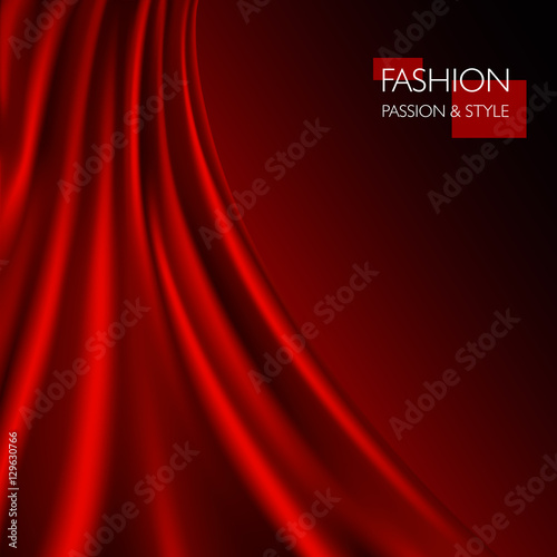 Fotobehang Stof vector illustration of smooth elegant luxury red silk or satin texture. Can be used as background