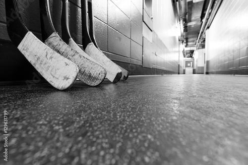 Photo  Black and white macro shot of hockey stick blades - Shallow depth of field