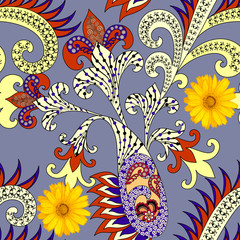 seamless pattern with colorful paisley, yellow curls, decorated bright yellow flowers