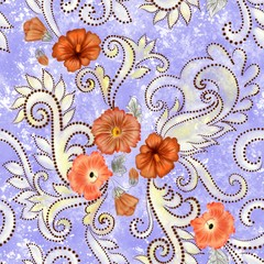 seamless pattern with  orange flowers, paisley and curlicues on a light purple blurred background