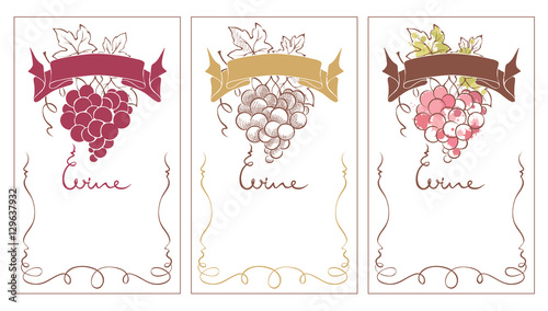 wine labels set vector template for wine label with with a bunch